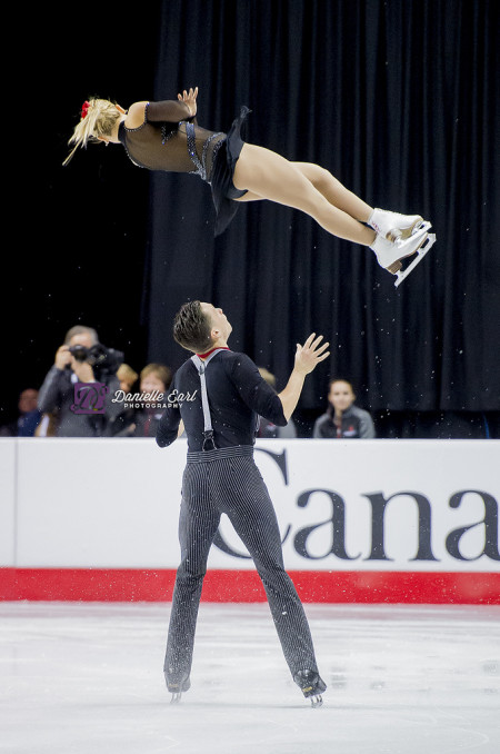 Moore-Towers and Marinaro during the short program at the 2015 Canadian Tire Figure Skating Championships. Photo by Danielle Earl.