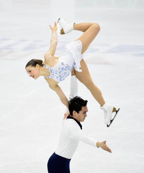 Madeline Aaron and Max Settlage perform in the short program at the 2016 U.S. Figure Skating Championships. Photo by Hannah Foslien/Getty Images North America.