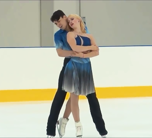 Biechler and Dodge perform their free dance at 2016 Lombardia Trophy. Edited screen capture by Jacquelyn Thayer.