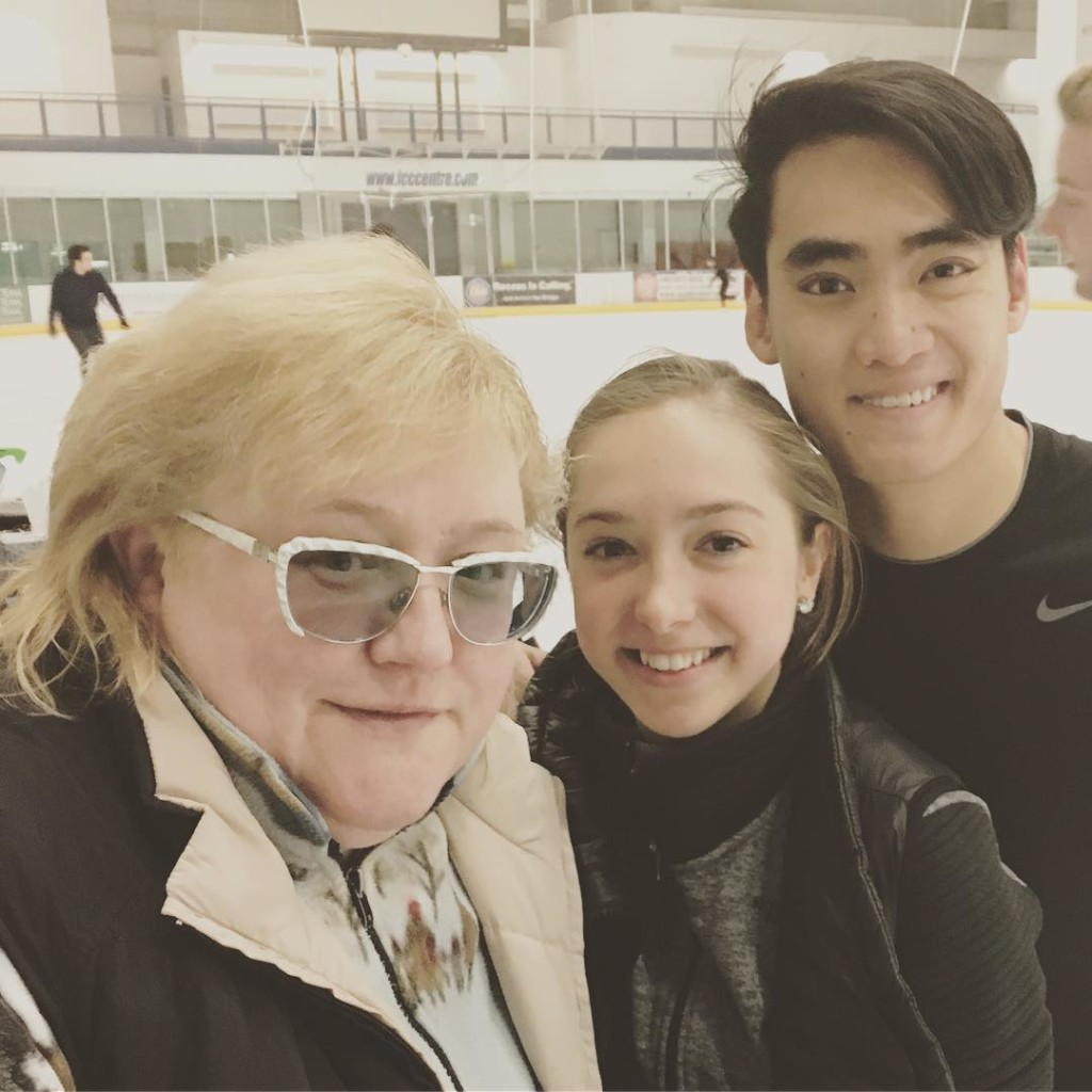 Deardorff and Settlage with Nina Mozer at U.S. Figure Skating's pairs camp in June. (Photo from Max Settlage on Instagram.)